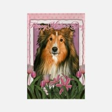 Mothers Day Pink Tulips Sheltie Rectangle Magnet (