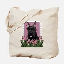 Mothers Day Pink Tulips Schnauzer Tote Bag