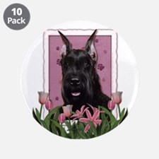 "Mothers Day Pink Tulips Schnauzer 3.5"" Button (10"
