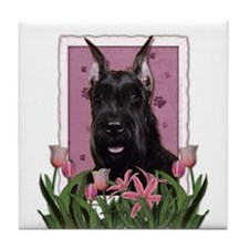 Mothers Day Pink Tulips Schnauzer Tile Coaster