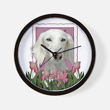 Mothers Day Pink Tulips Saluki Wall Clock