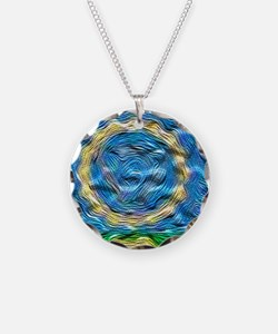 Heavenly Blue Necklace Circle Charm