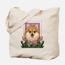 Mothers Day Pink Tulips Pom Tote Bag