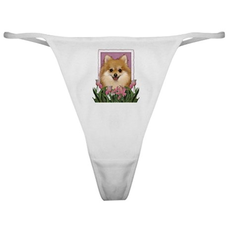 Mothers Day Pink Tulips Pom Classic Thong
