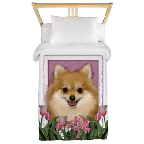 Mothers Day Pink Tulips Pom Twin Duvet