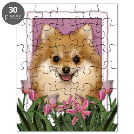 Mothers Day Pink Tulips Pom Puzzle