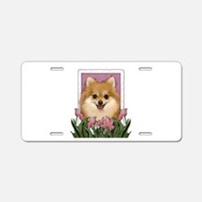 Mothers Day Pink Tulips Pom Aluminum License Plate