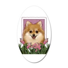 Mothers Day Pink Tulips Pom 22x14 Oval Wall Peel