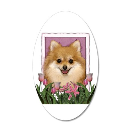 Mothers Day Pink Tulips Pom 38.5 x 24.5 Oval Wall