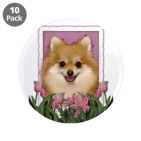 """Mothers Day Pink Tulips Pom 3.5"""" Button (10 pack)"""