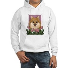 Mothers Day Pink Tulips Pom Hoodie