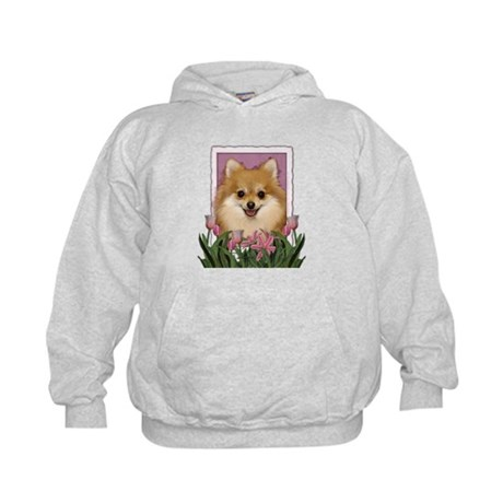 Mothers Day Pink Tulips Pom Kids Hoodie