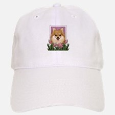 Mothers Day Pink Tulips Pom Baseball Baseball Cap