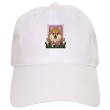 Mothers Day Pink Tulips Pom Baseball Cap
