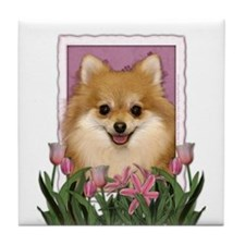 Mothers Day Pink Tulips Pom Tile Coaster