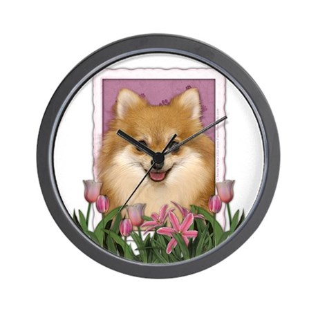 Mothers Day Pink Tulips Pom Wall Clock