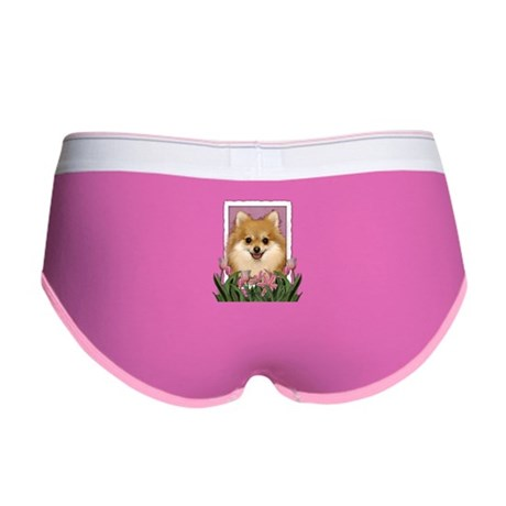 Mothers Day Pink Tulips Pom Women's Boy Brief