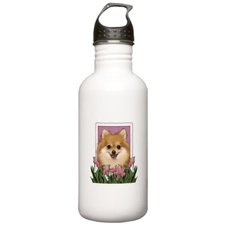 Mothers Day Pink Tulips Pom Stainless Water Bottle