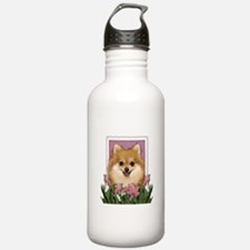 Mothers Day Pink Tulips Pom Water Bottle