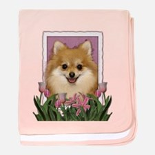 Mothers Day Pink Tulips Pom baby blanket