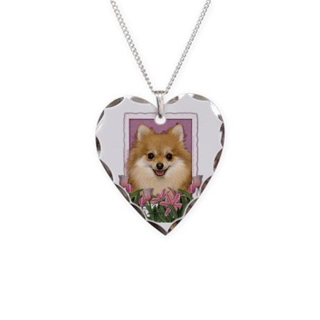 Mothers Day Pink Tulips Pom Necklace Heart Charm