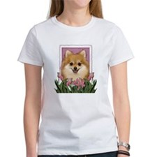 Mothers Day Pink Tulips Pom Tee