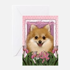 Mothers Day Pink Tulips Pom Greeting Card
