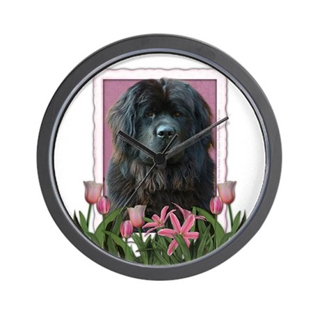 Mothers Day Pink Tulips Newfie Wall Clock