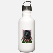 Mothers Day Pink Tulips Newfie Water Bottle
