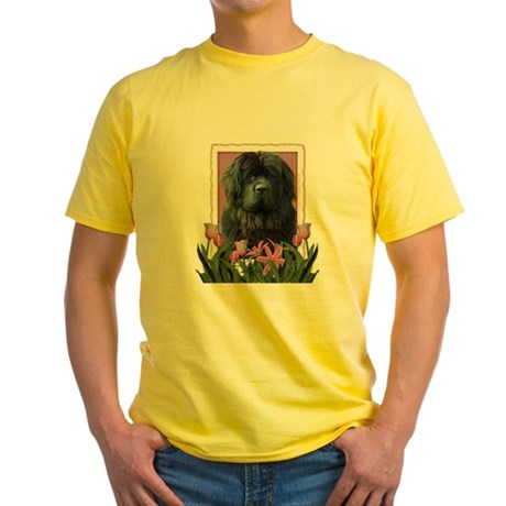 Mothers Day Pink Tulips Newfie Yellow T-Shirt