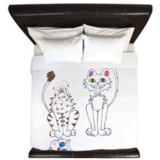 I Bite Kitty Cartoon Art King Duvet