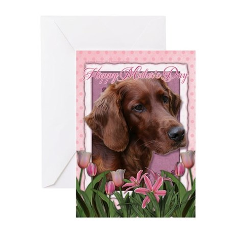 Mothers Day Pink Tulips Irish Setter Greeting Card