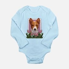 Mothers Day Pink Tulips Basenji Long Sleeve Infant
