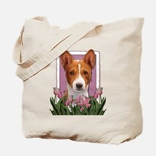 Mothers Day Pink Tulips Basenji Tote Bag