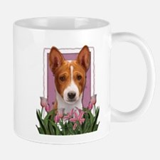 Mothers Day Pink Tulips Basenji Small Small Mug