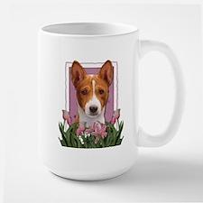 Mothers Day Pink Tulips Basenji Mug