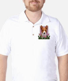 Mothers Day Pink Tulips Basenji T-Shirt
