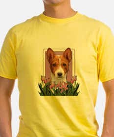 Mothers Day Pink Tulips Basenji T