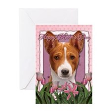 Mothers Day Pink Tulips Basenji Greeting Card