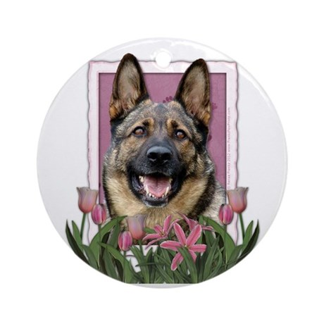 Mothers Day Pink Tulips Shepherd Ornament (Round)