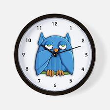 Aqua Owl Wall Clock