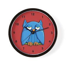 Aqua Owl red Wall Clock