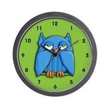 Aqua Owl green Wall Clock