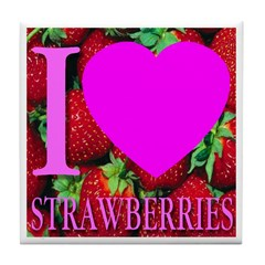 I (Heart) Strawberries Tile Coaster