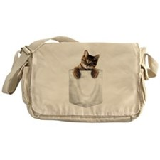 Messenger Bag with a little kitty in the pocket
