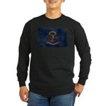 North Dakota Flag Long Sleeve Dark T-Shirt