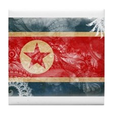 North Korea Flag Tile Coaster