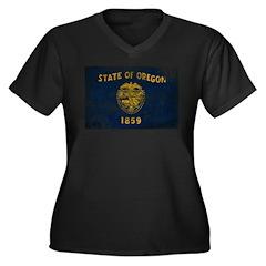 Oregon Flag Women's Plus Size V-Neck Dark T-Shirt
