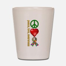 Peace, Love, Awareness Shot Glass