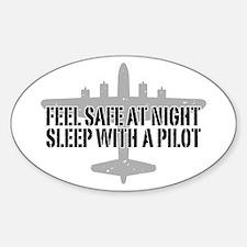 Funny Pilot Sticker (Oval)